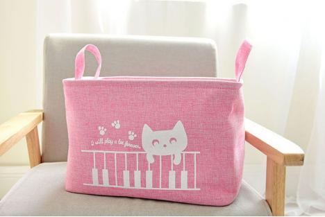 Корзина для игрушек на завязках Berni Cat pink