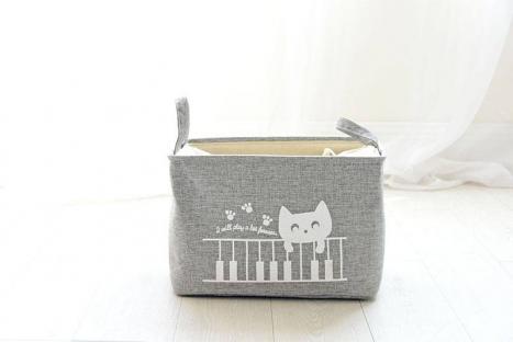 Корзина для игрушек на завязках Berni Cat gray