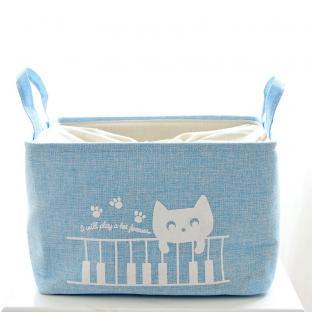 Корзина для игрушек на завязках Berni Cat blue