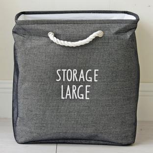 Корзина для игрушек на завязках Berni Storage dark gray