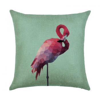 Подушка Фламинго полигональный
