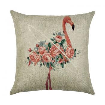 Подушка Фламинго в цветах