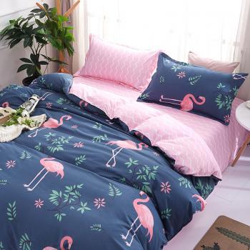 Фламинго и цветы (Полуторный)