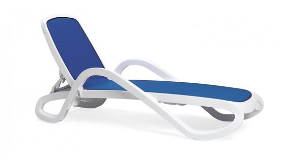 Лежак Alfa бело-синий