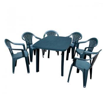 Набор стол Faro + 6 кресел Altea зеленый