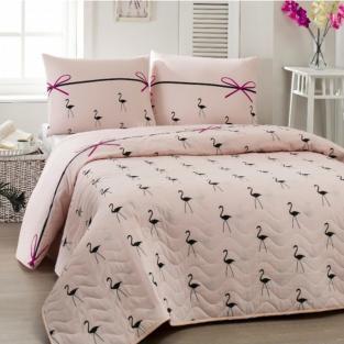 Покрывало стеганое с наволочками 200x220 см Eponj Home Flamingo Pudra