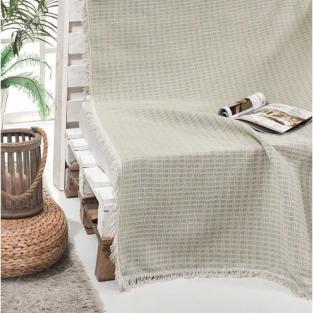 Покрывало-плед хлопковое Eponj Home Cizgili Mint 180х230 см