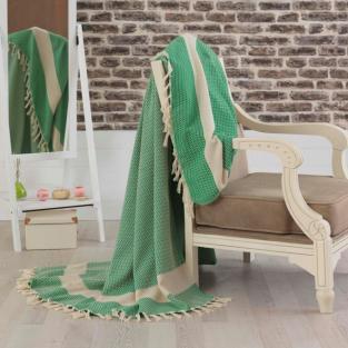 Покрывало-плед хлопковое Eponj Home Hasir A.Yesil 200х240 см