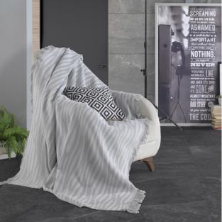 Плед Eponj Home Buldan Keten Verda 170x220 gri серый