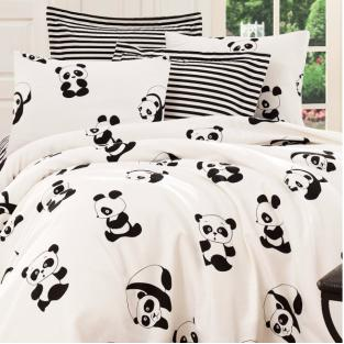 Покрывало пике вафельное Eponj Home B&W Panda siyah-beyaz 200х235 см
