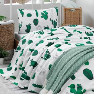 Покрывало пике вафельное Eponj Home Kaktus yesil 160х235 см