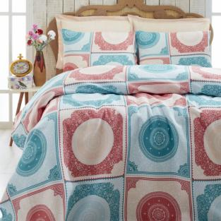 Покрывало пике вафельное Eponj Home Ornament mint-somon 200х235 см