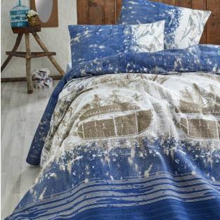 Покрывало пике вафельное Eponj Home Pusula k.mavi 200х235 см