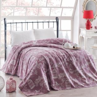 Покрывало пике вафельное Eponj Home Samyeli lila 160х235 см