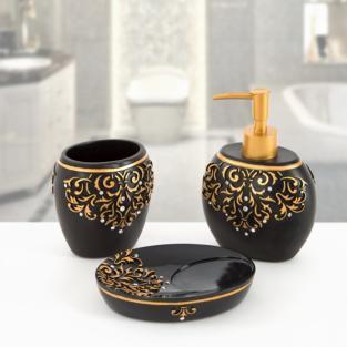 Комплект в ванную Irya Flossy siyah черный (3 предмета)