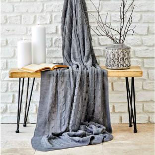 Плед вязанный Karaca Home Sofa gri серый 130х170