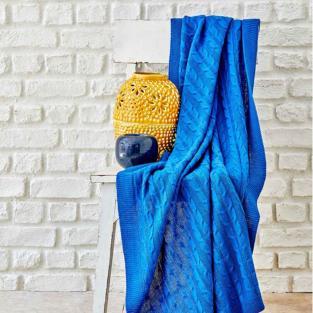 Плед вязанный Karaca Home Sofa mavi синий 130х170