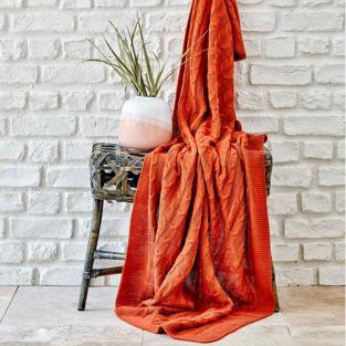 Плед вязанный Karaca Home Sofa bordo 130х170