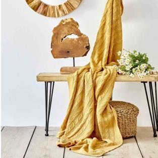 Плед вязанный Karaca Home Sofa hardal горчичный 130х170