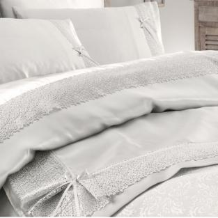Комплект постельного белья с 4-мя наволочками и покрывалом пике Karaca Home Tugce bej (Евро)