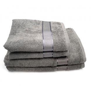 Полотенце махровое с бордюром Серый 40x70 см