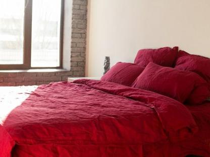 Комплект постельного белья из однотонного льна Бордо