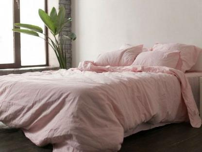 Комплект постельного белья из однотонного льна Розовый