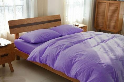 Комплект постельного белья из однотонного льна Сиреневый