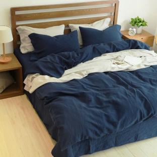 Комплект постельного белья из однотонного льна Темно-синий