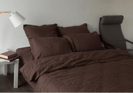 Комплект постельного белья из однотонного льна Темный шоколад