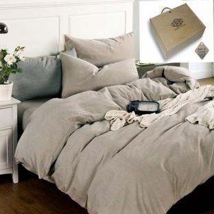 Комплект постельного белья из однотонного льна Бриллиантовый туман