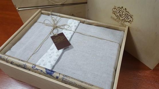 Комплект постельного белья из однотонного льна Дуэт серый