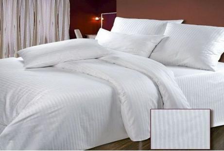Комплект постельного белья из страйп-сатина белый 1/1 см