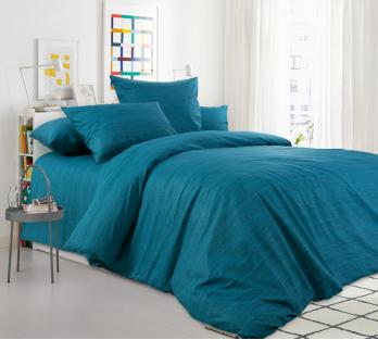 Комплект постельного белья из перкаля Морская волна