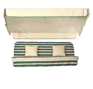 Мягкий комплект к качелям Seattle зелено-бежевая полоска