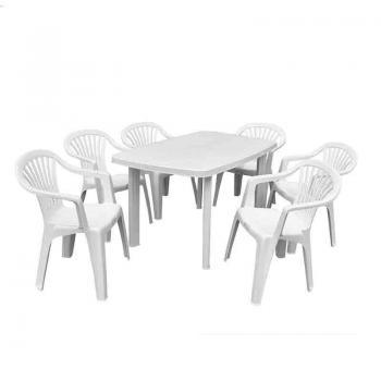 Набор стол Faro + 6 кресел Altea белый