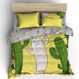 Комплект постельного белья из бязи Soft Textile Home Кактусы и котик евро