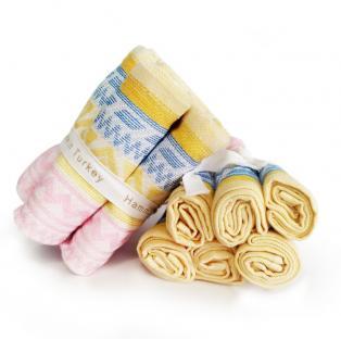 Набор махровых полотенец Желто-розовый 30x30 см 6 шт