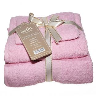 Набор махровых полотенец Sofia Pink 3 шт