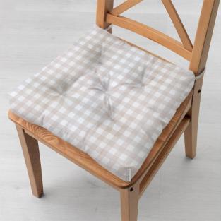 Подушка на стул 40x40 см Бежевая клетка (средняя)