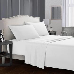 Комплект постельного белья полуторный из сатина Time Textile Белоснежный белый