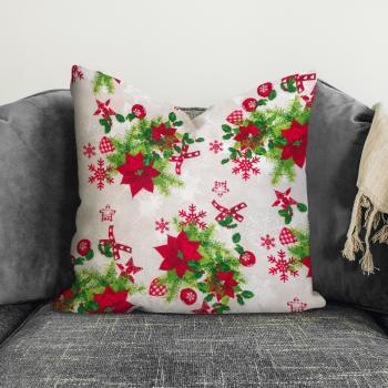 Новогодняя декоративная подушка Poinsettia