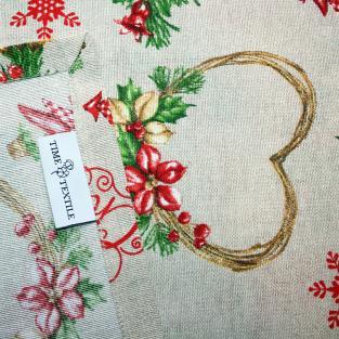 Новогодняя скатерть Time Textile Merry Christmas Hearts